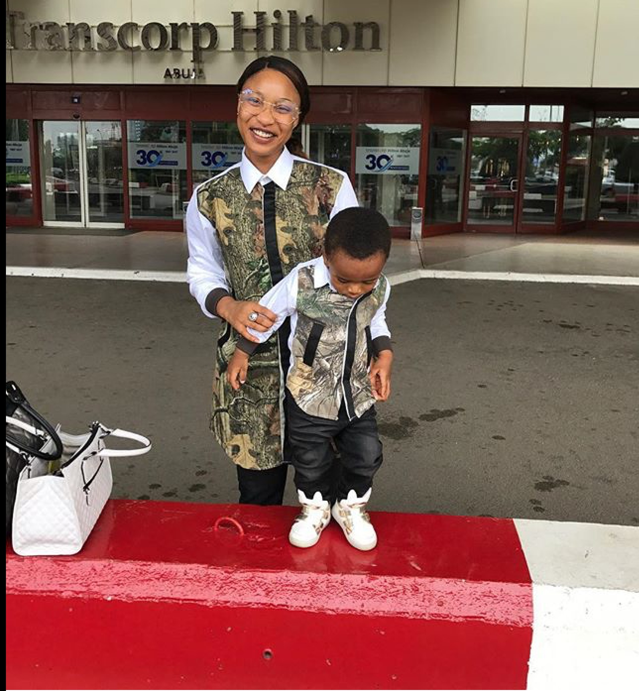 Tonte dikeh and her cute king andre in matching outfit for Tonte
